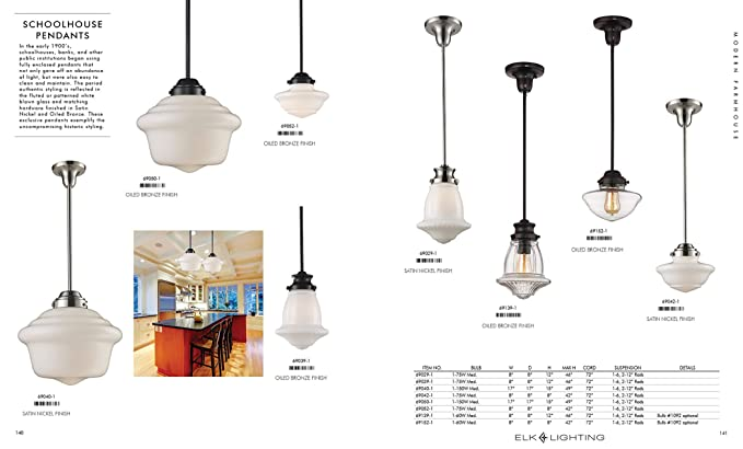 Amazon.com: Alces 69039 – 1 Schoolhouse 1-Light colgante, 30 ...