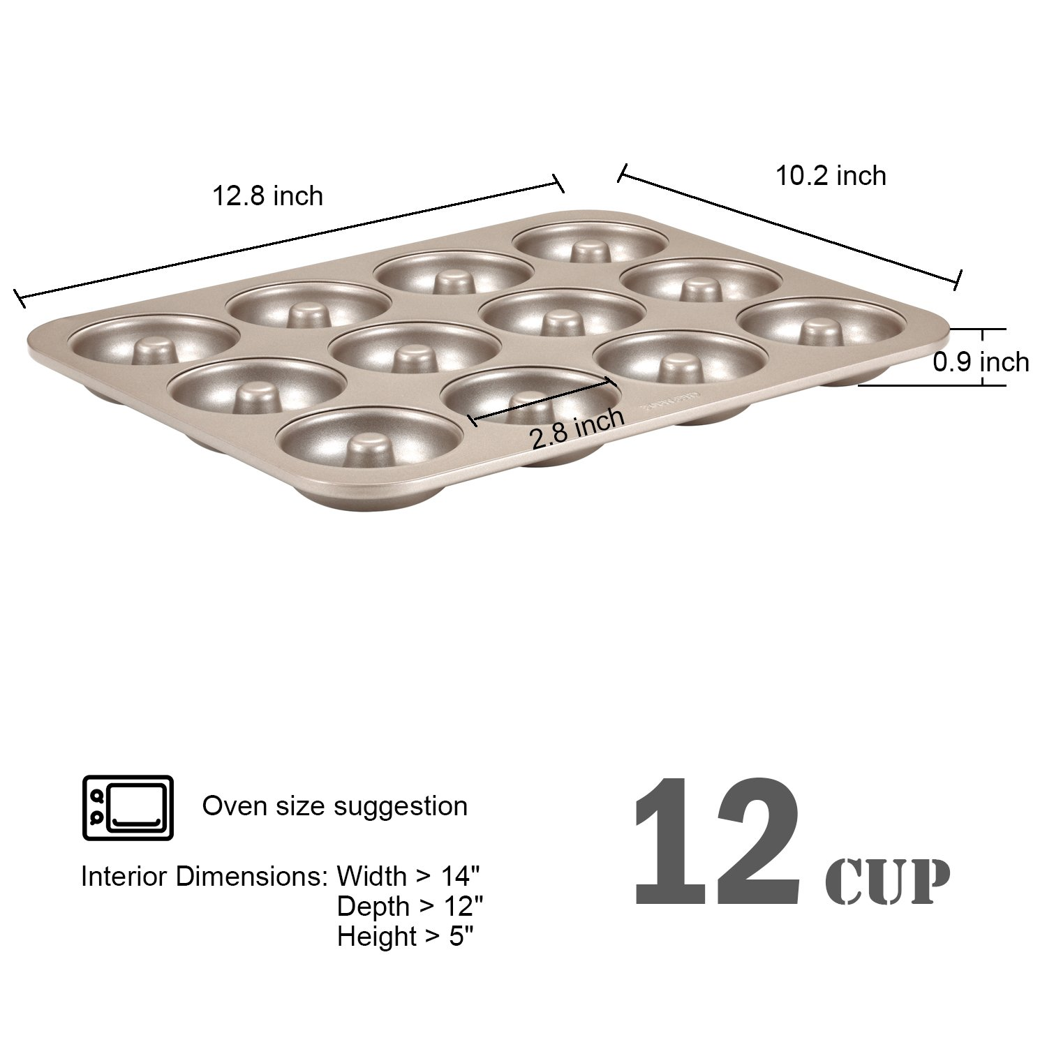 CHEFMADE Donut Mold Cake Pan, 12-Cavity Non-Stick Ring Doughnut Bakeware, FDA Approved for Oven Baking (Champagne Gold) by CHEFMADE (Image #2)
