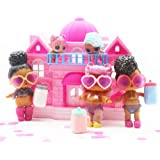 UMFun Big Size Pretend Play Princess Doll House 4 Adorable LOL Surprise Dolls Dollhouse Set For Kids Without Toys