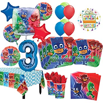 PJ Masks 3rd Birthday Party Supplies 8 Guest Kit and Balloon Bouquet Decorations