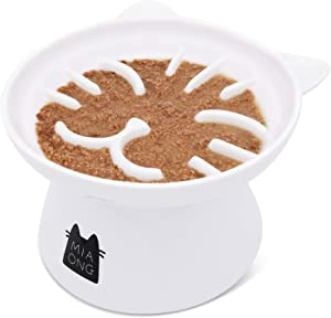 Miaong Slow Feeder Cat Bowl for Anti Vomiting Ceramic Elevated Cat Bowl Neck Stress Free
