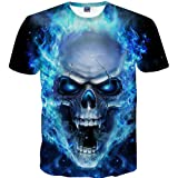 Mens Skull 3D Printing Casual Tees Shirt Short