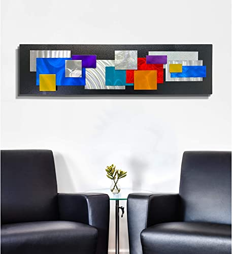 Statements2000 Geometric Bright Colorful Abstract Metallic Wall Sculpture Art