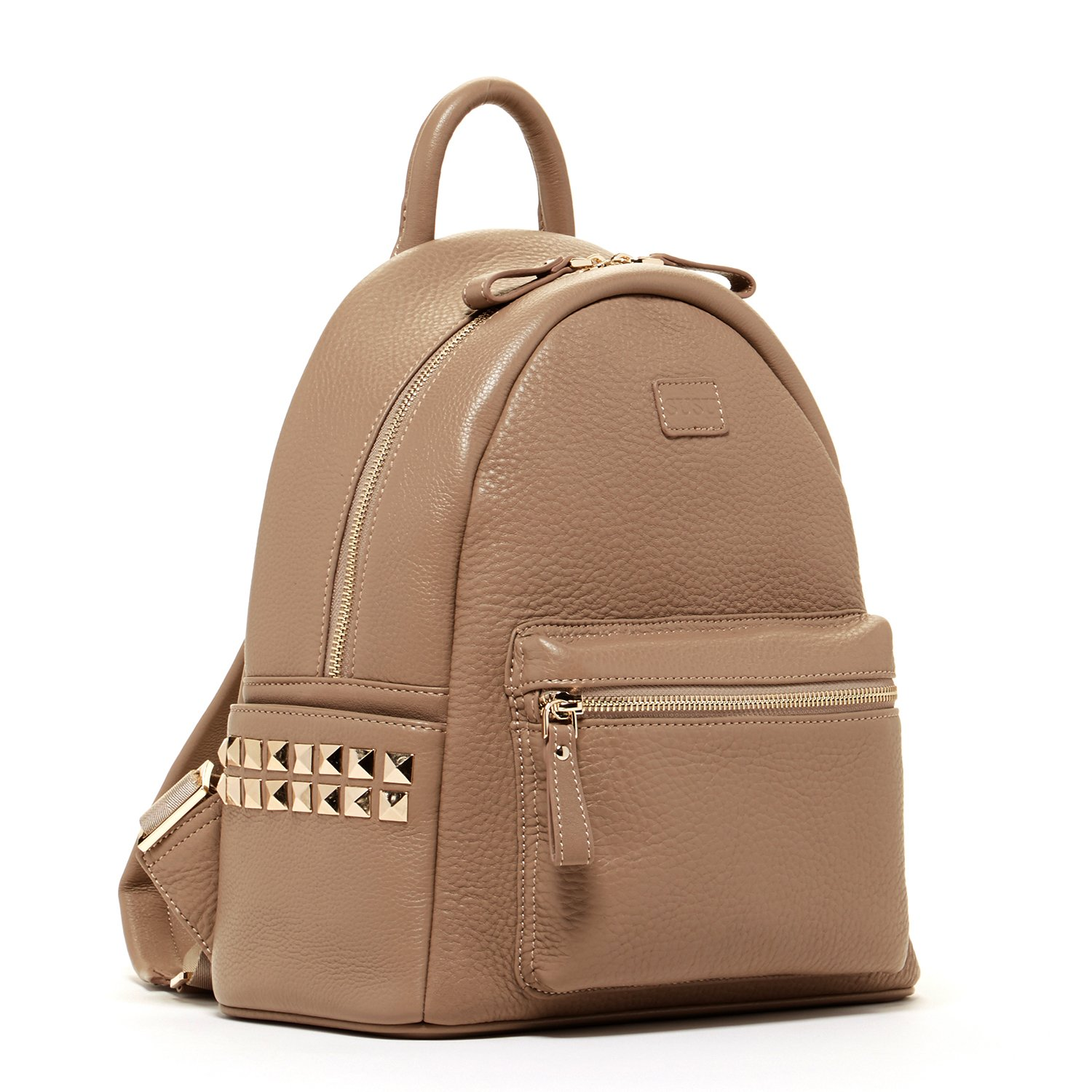 SUSU Cement studded Leather Backpack for Women With Studs Dark Beige Purse  for Women Side Pockets and Zipper Front Pocket Leather Backpack Style Purse  Tan ... 6dffe0807968b