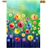 """ShineSnow Watercolor Abstract Spring Summer Seasonal Green Floral Flowers Art House Flag 28"""" x 40"""" Double Sided Polyester Wel"""