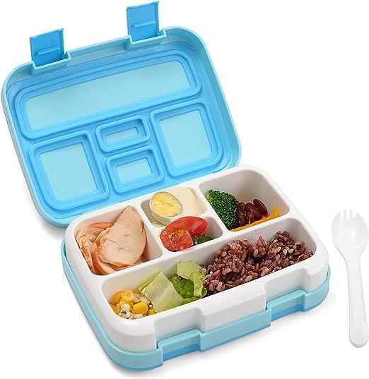 sin BPA Grande Capacidad Fiambrera herm/ética BRIGENIUS 5 compartimento Fiambrera Bento box con Cuchara y Tenedor para ni/ños y adultos