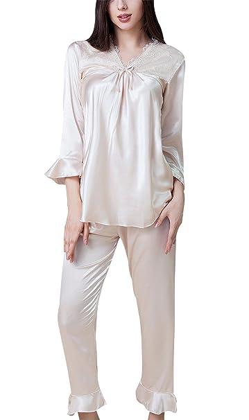 Sihuan Conjunto de Pijamas para Mujeres Chicas Camisón de Satén Sleepwear Ropa de Dormir Elegante Suave