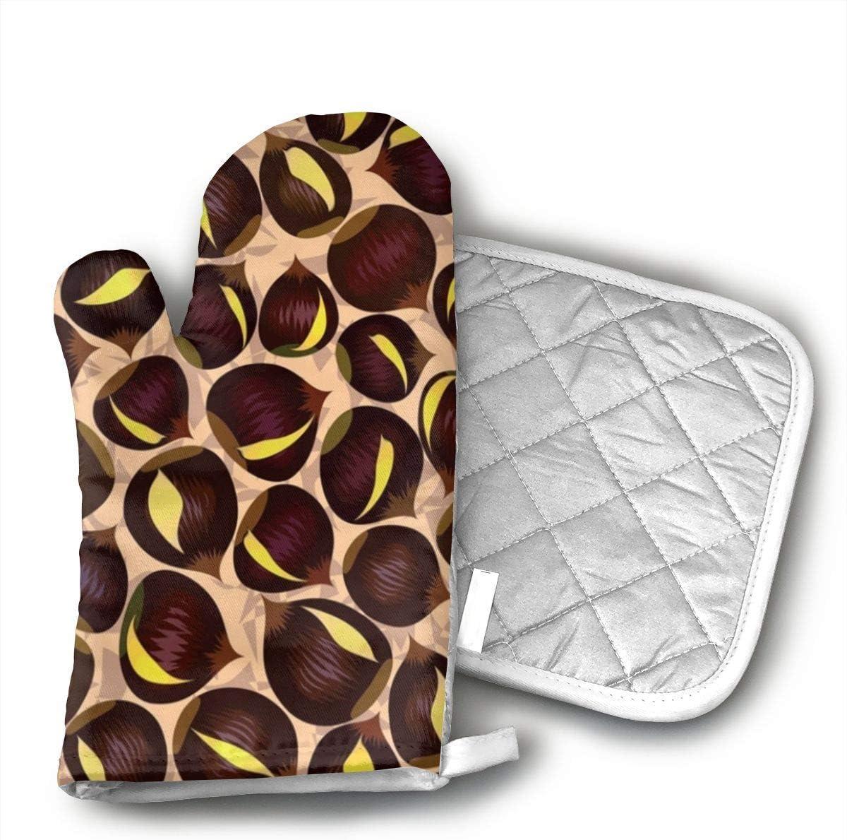 CASM Dark Brown Chestnut Unique Design Eyeballs.jpg Microwave Oven Gloves,Cotton Oven Gloves Heat Resistant Microwave Oven Kitchen Gloves