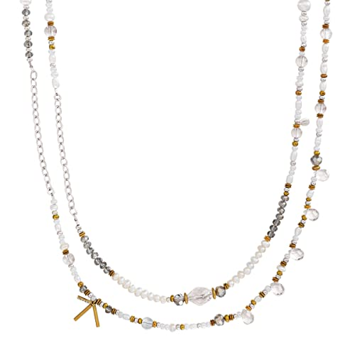 Silpada Stardust 6-6.5 mm Freshwater Cultured Pearl Crystal Beaded Necklace in Sterling Silver Brass
