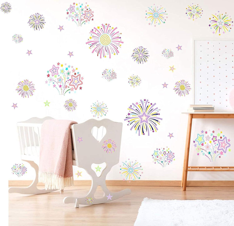 Firework Wall Decals Blooming Flower Wall Decals, Floral Fireworks Sticker Holiday Decor,Girls Wall Decals Window Cling Decor Girls Bedroom Decor