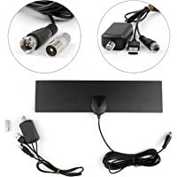 Digital Indoor Leaf Flat TV Antenna HDTV DTV Square Amplified Signal Booster