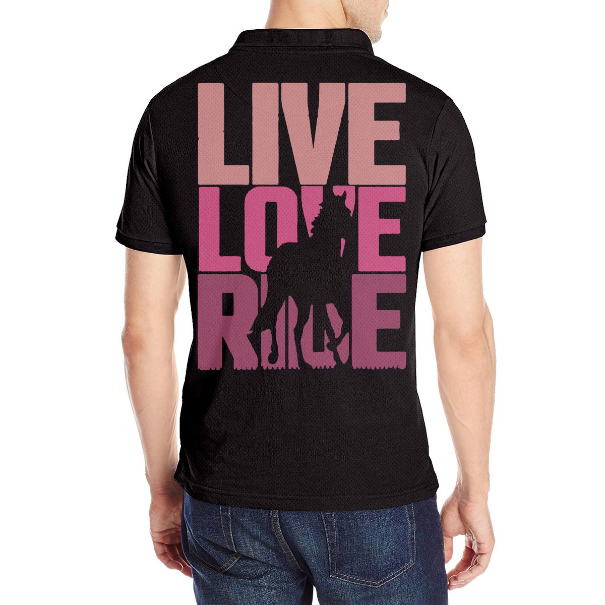 Live Love Ride Horse Mens Boys Short Sleeve Polo Shirt Sports Contrast Raglan Tunic Tops
