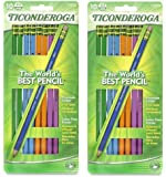 Dixon Ticonderoga Wood-Cased #2 Pencils, Black Lead, 2 Pack Box of 10, Assorted Color Barrels (13932) Bundle