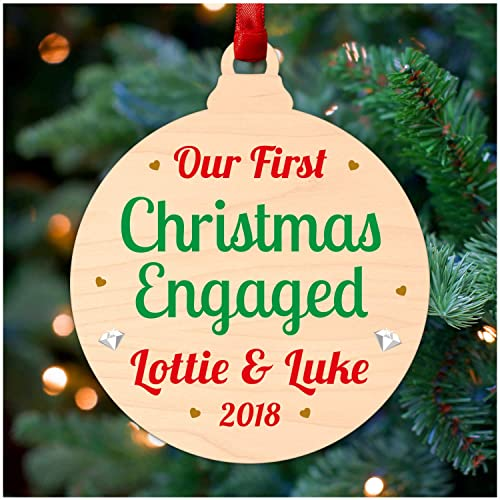 our 1st first christmas engaged hanging tree decoration bauble ornament personalised xmas gifts for fiance fiancee printed birch wood christmas tree