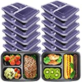 Hecentur Meal Prep Containers 3 Compartment with Lids Food Storage Bento Box | BPA Free | Stackable | Lunch Boxes, Microwave/Dishwasher/Freezer Safe, 36oz, 10PCS