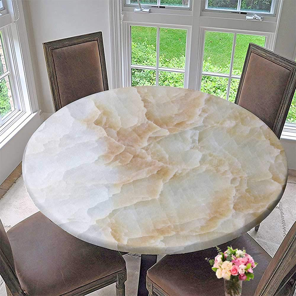 "PINAFORE HOME Simple Modern Round Table Cloth Marble Tiles Texture wmarble Background for Daily use, Wedding, Restaurant 35.5""-40"" Round (Elastic Edge)"