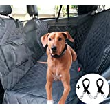 Cadosoigh Dog Car Seat Cover 100% Waterproof Rear Seat Covers for Dogs with Viewing Window/Side Flaps/Storage Bags, Car Hammock Scratch Proof Nonslip Back Seat Protector,Universal fits All Cars