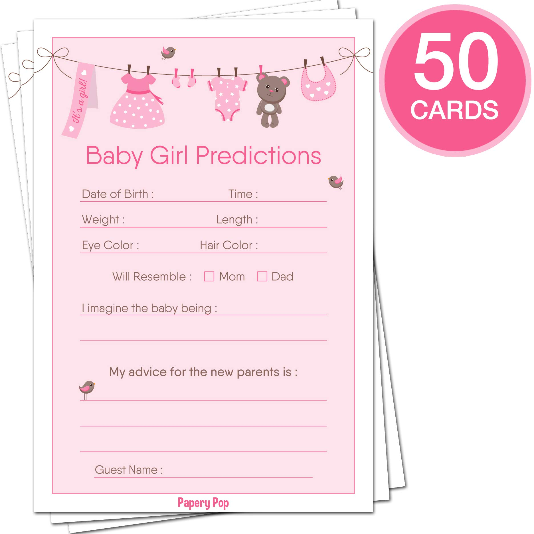 Baby Shower Games for Girls - Set of 5 Activities - (50 Cards Each, 250 Total) - Baby Shower Supplies by Papery Pop (Image #5)