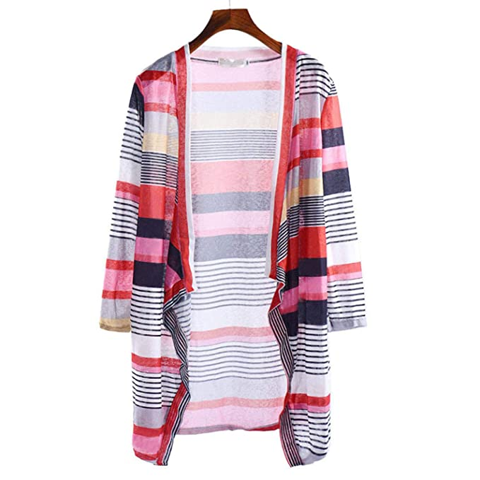 BGiME Women Casual Irregular Stripe Shawl Knitted Sweater Cardigan at Amazon Womens Clothing store: