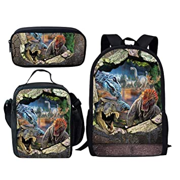 c054bf8326c6 Dellukee School Backpack Set Lunch Bag Pen Bags Cute Durable Bookbags  Daypacks Dinosaur Print