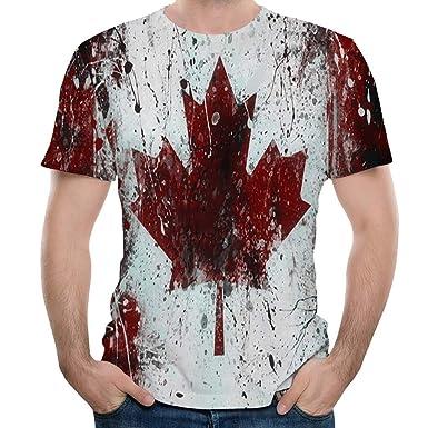 YpingLonk Camiseta Hombre Hoja de Arce Pareja Primavera y Verano ...