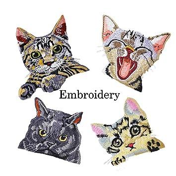 Súper lindo gato conjunto de hierro en parches, parche bordado Applique ropa vestido planta sombrero Jeans flores de coser billetera Diy accesorio enojado, ...
