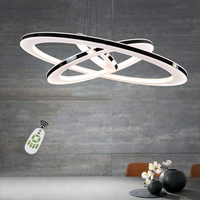 ZMH Moderne LED Pendelleuchte esstisch 9 W Led 9-Ring led dimmbar  Fernbedienung Hängeleuchte Wohnzimmer Deckenleuchte Schlafzimmer  Höhenverstehbar