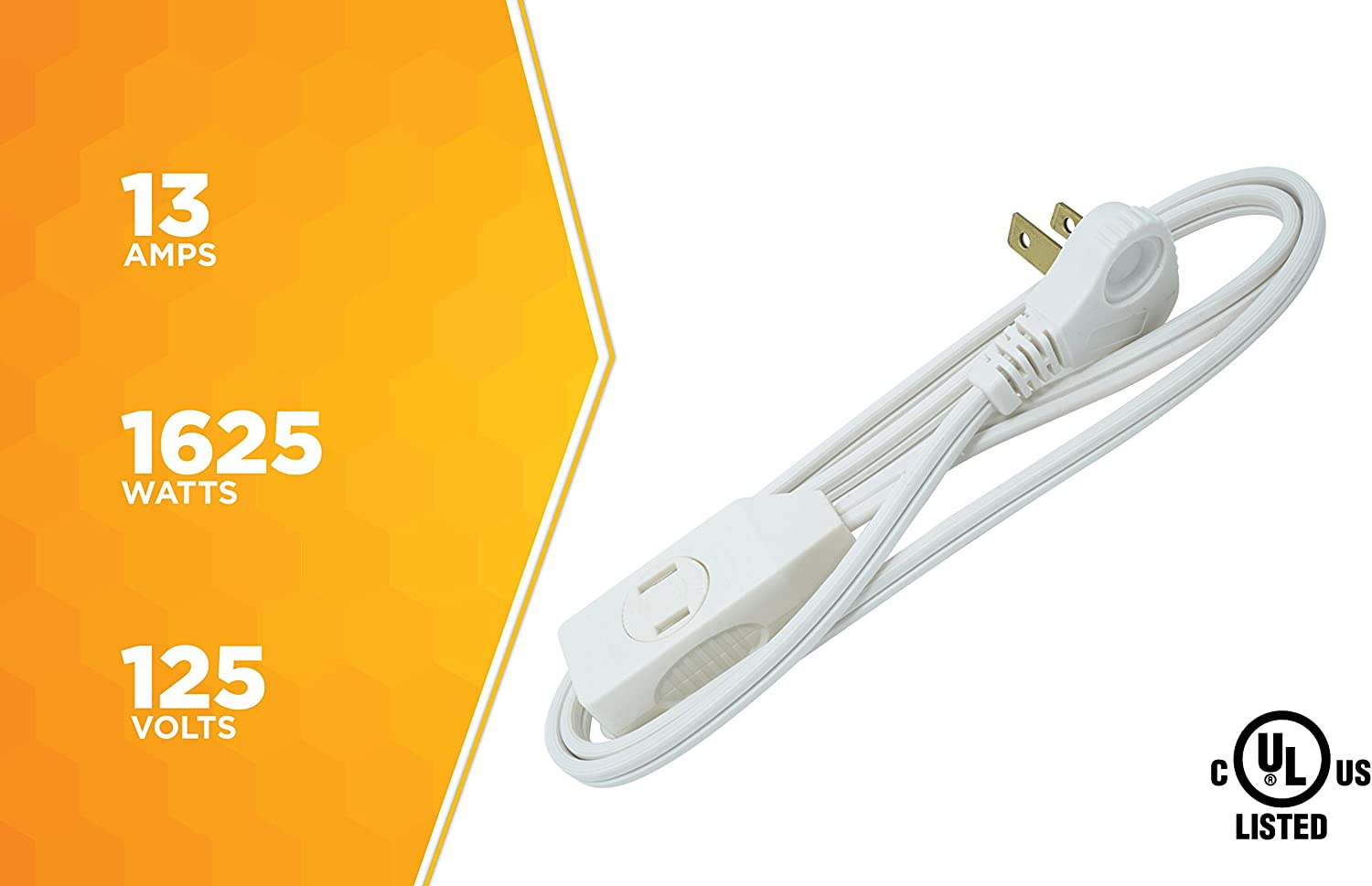 SlimLine 2235 Indoor Flat Plug Extension Cord, 3 Foot Cord, Right Angled Plug, 16 gauge, 3 Polarized Outlets, 125 Volts, Space Saving Design, Neutral White Color, UL and CUL Listed… - -
