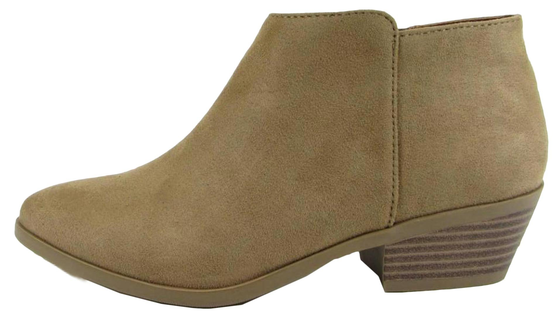 Western Ankle Boot- Cowgirl Low Heel Closed Toe Casual Bootie Natural ISU 8.5