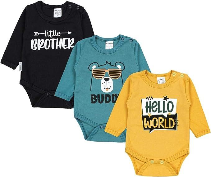 TupTam Baby Jungen Strampler mit Aufdruck Spruch 3er Pack