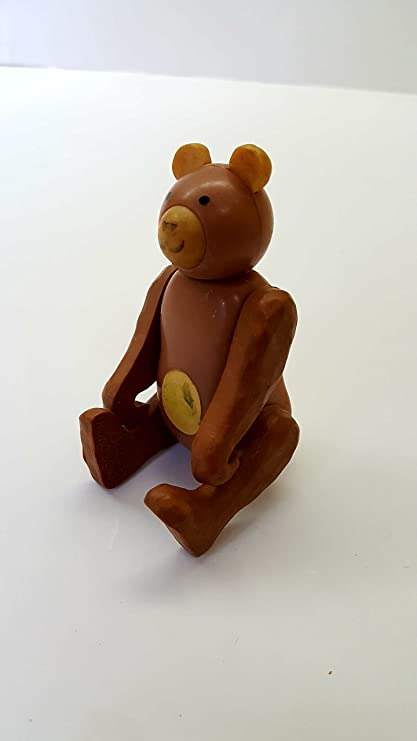 Amazon.com: Vintage Bendable Poseable Teddy Bear Wooden Action ...