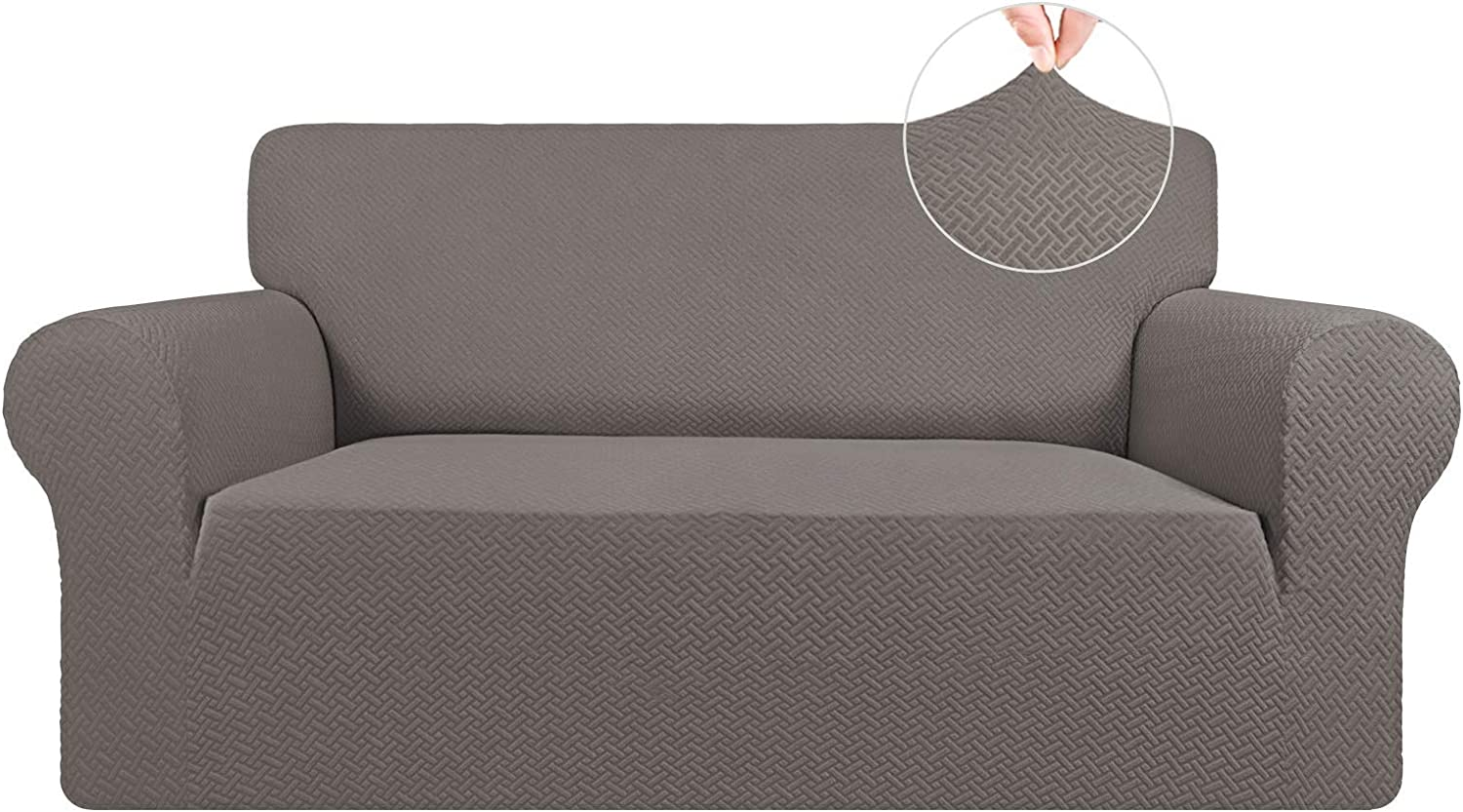 Easy-Going Stretch Jacquard Loveseat Couch Cover, 1-Piece Soft Sofa Cover, Sofa Slipcover with Anti-Slip Foams, Washable Furniture Protector for Kids, Pets ( Loveseat, Taupe)