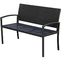 Outsunny Rattan Wicker Loveseat Garden Furniture Hand Woven Portable Backyard Black