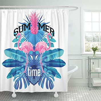Ashleyallen Shower Curtains Pink Flamingo Mirror Typographical With Tropical Plants Pineapple And Flowers Party Blue