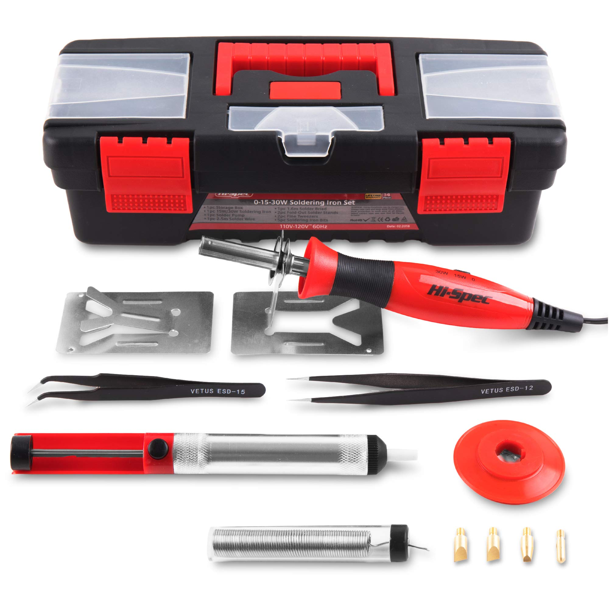 Hi-Spec 2-in-1 15/30 Watt Adjustable Temperature Soldering & Pyrography Wood Burning Set with Desoldering Pump, Wire, Wick/Braid, Antistatic Tweezers for Electronic Repairs, Jewelry, Hobby in Case