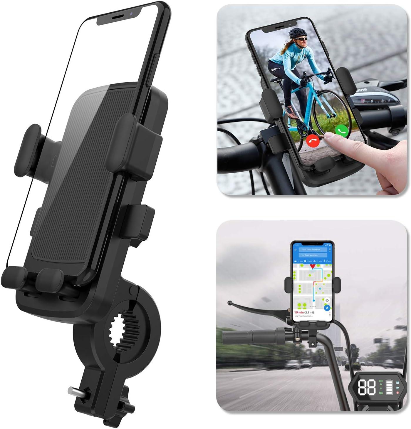 Ossky Soporte Movil Bici,Universal Rotación 360°Soportes Movil para Moto Bicicleta,Anti Vibración Porta Telefono Motocicleta para iPhone SE 2020/11 Pro MAX/XR,Samsung S20 etc y Otro 4.7-6.5