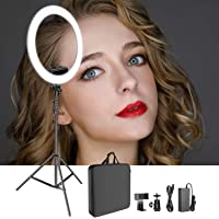 House of Quirk Ring Light Kit [Upgraded Version-1.8cm Ultra Slim]-12 inches,3200-5600K,Dimmable LED Ring Light with Light Stand, Phone Clip,Hot Shoe Adapter for Portrait Makeup Video Shooting