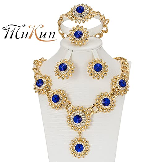 Wedding Gold-plated Jewelry Sets - Ocean Blue Diamond Crystal Elegant V-shaped Necklace  sc 1 st  Amazon.com & Amazon.com: Wedding Gold-plated Jewelry Sets - Ocean Blue Diamond ...