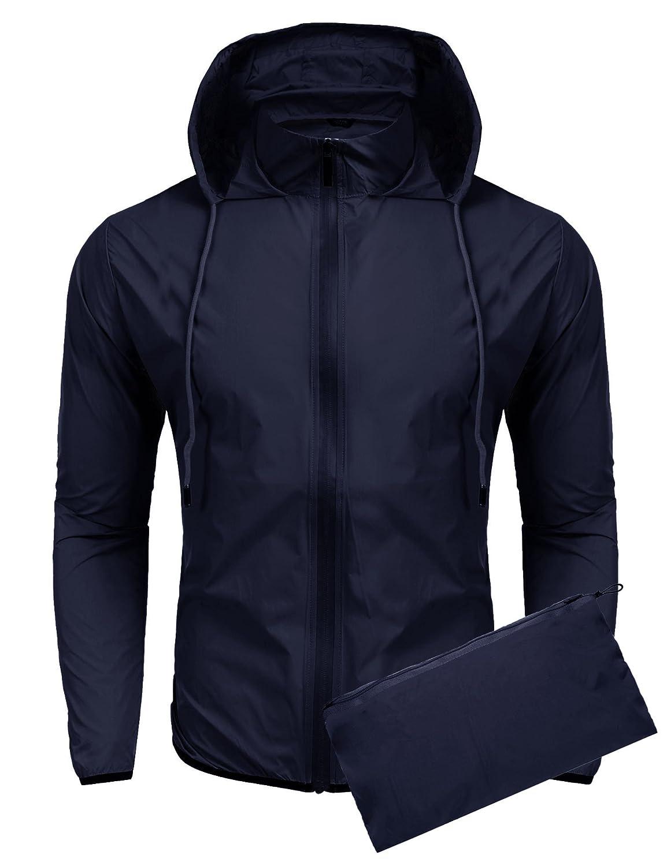 COOFANDY Unisex Lightweight Hooded Running Cycling Rain Jacket Outdoor Raincoat Zeagoo Ltd ETJ006157