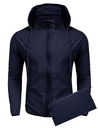 COOFANDY Unisex Lightweight Hooded Running Cycling Rain Jacket ...