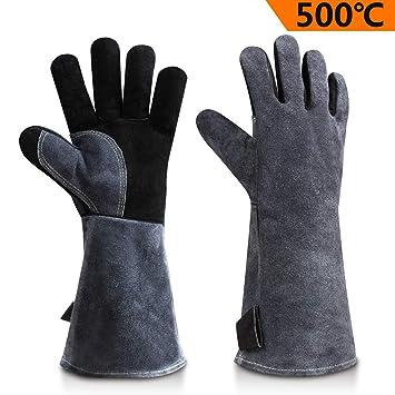 Ozero piel barbacoa barbacoa guantes, 932 °F resistente al calor extremo horno parrilla estufa chimenea soldadura ...