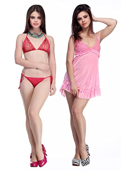 be2f2542f1 BELLE NUITS Women s Satin Combo of Short Nighty and Bra   Panty Set   Amazon.in  Clothing   Accessories