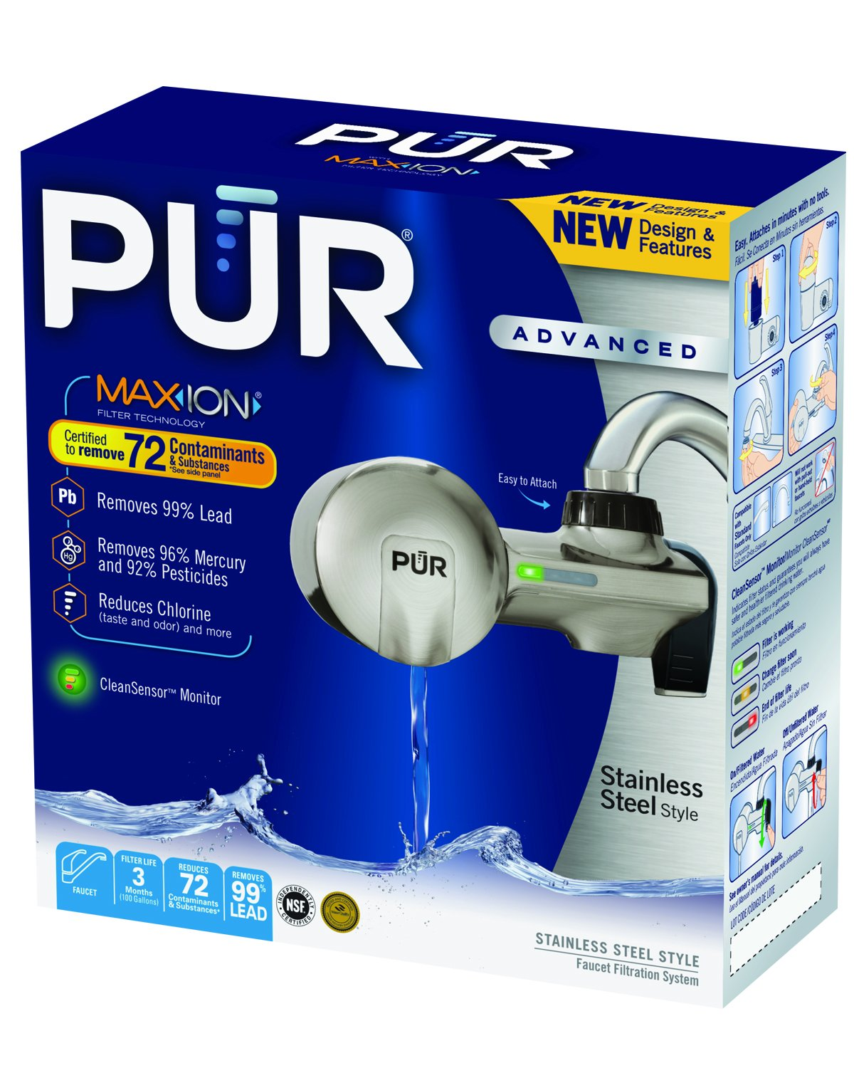 PUR PFM450S Stainless Steel Style Horizontal Water Filtration Faucet ...