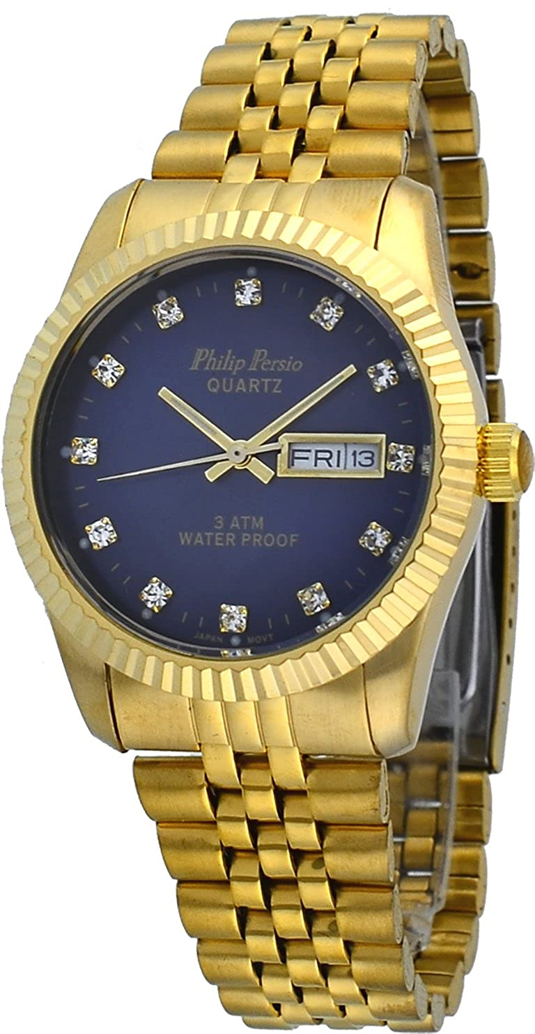 Amazon.com: Philip Persio Mens Gold Tone Fluted Bezel Day Date Crystal Marker Blue Dial Watch: Watches