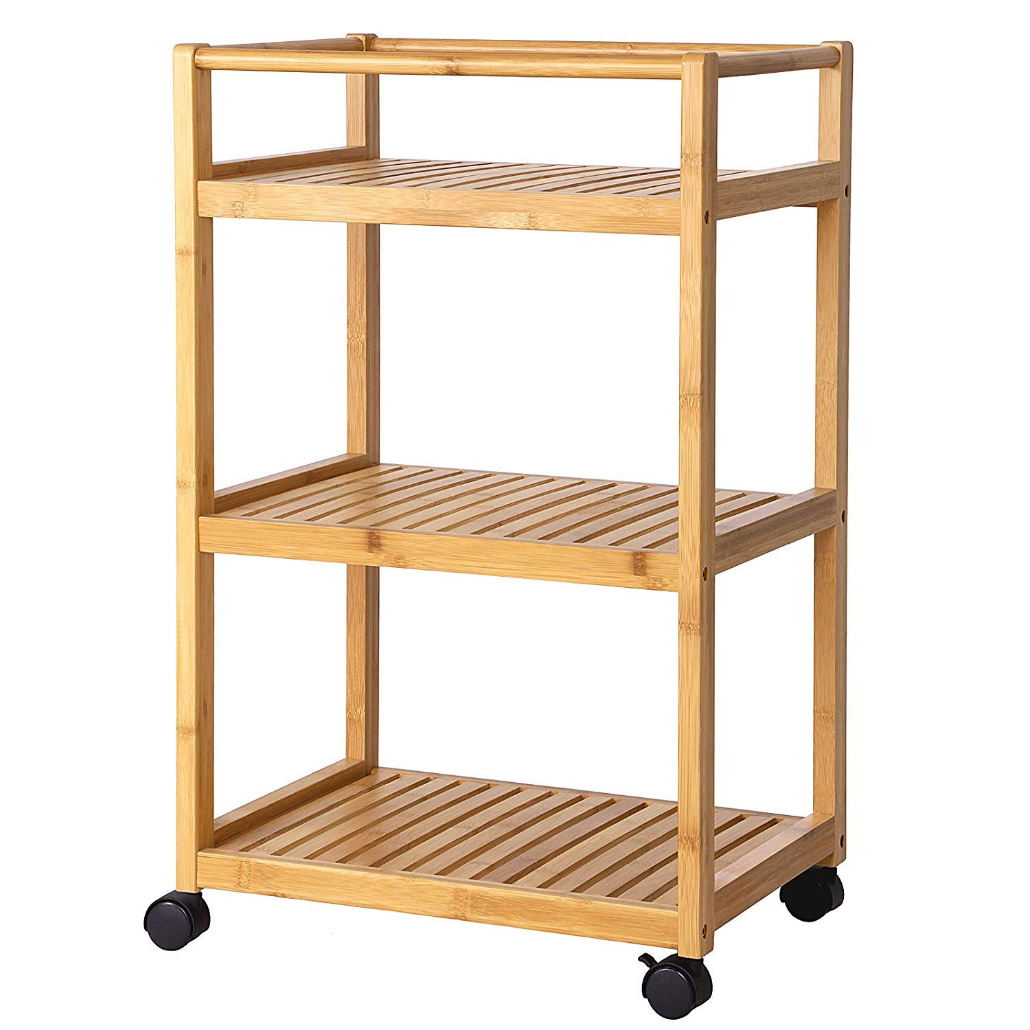 Trustiwood Bathroom Storage Cart Serving Bar Cart Utility Trolley Organizer Rack with 3 Shelves and Locking Wheels for Kitchen Living Room Bamboo Wood