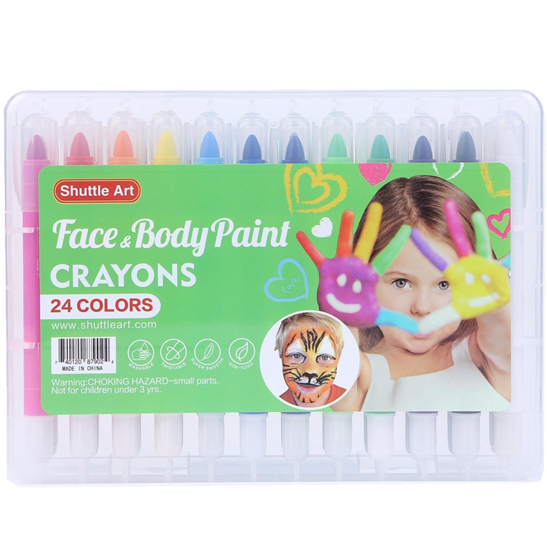 Face Paint Kit for Kids, Shuttle Art 24 colors Face Painting Party Set Body Paint Kit Non-Toxic Body Face Painting Set SAFP-24