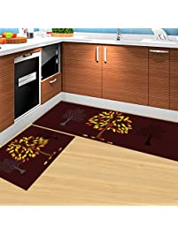 HEBE Kitchen Rugs Set Of 2 Piece Non Slip Kitchen Mat And Rug Rubber Backing