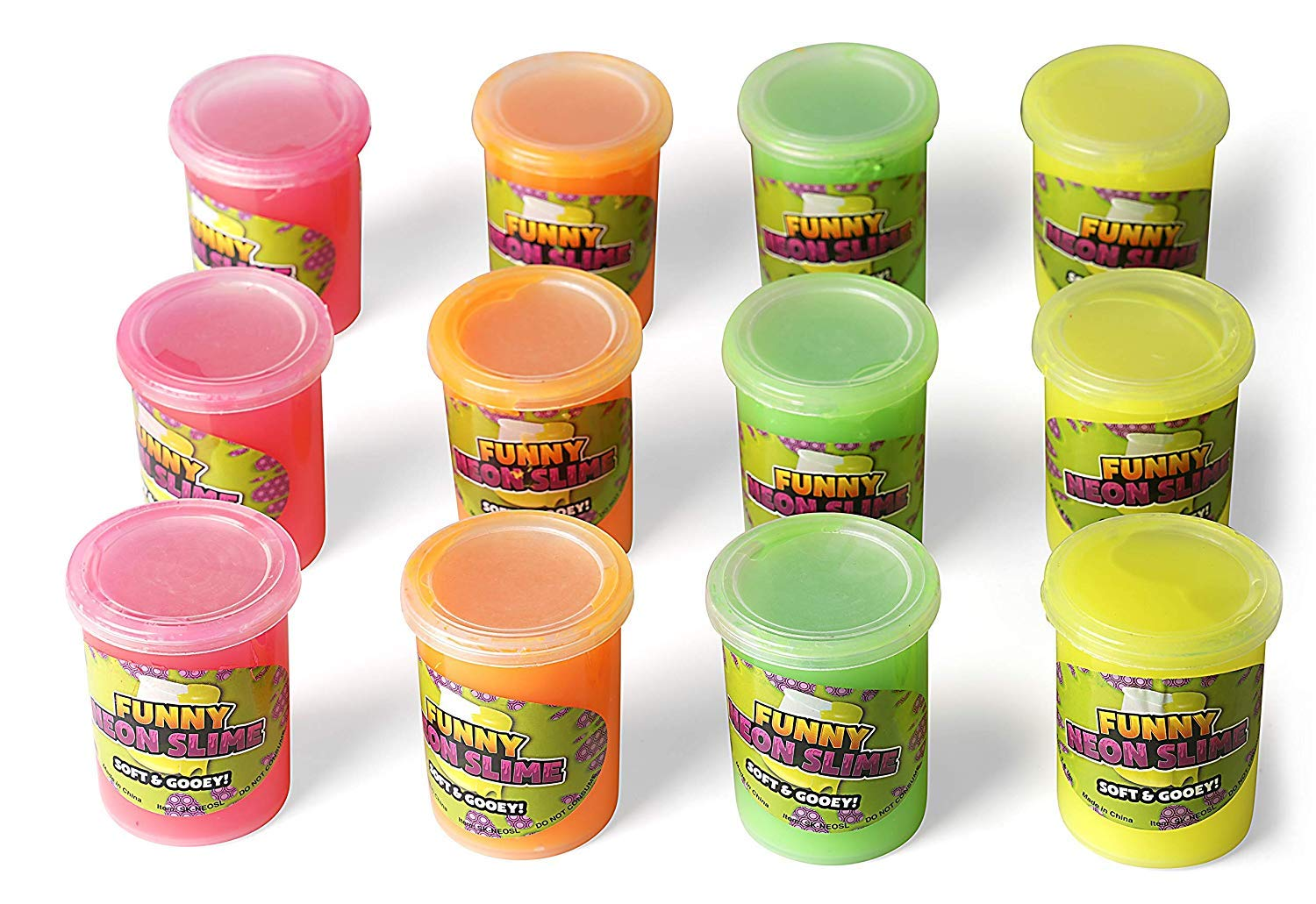 Neliblu Bulk Pack Silly Putty Slime - Therapeutic and Fun Party Favors, Goodie Bag Fillers, Stocking Stuffers for Kids - Bulk Toys 1 Dozen Assorted Neon Colors by Neliblu