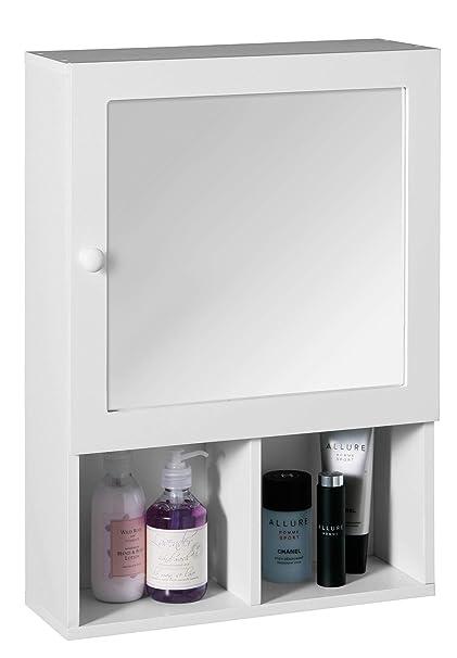 Premier Housewares Mobile per il bagno con sportello a specchio e due  scomparti, 56 x 40 x 15 cm, colore: Bianco