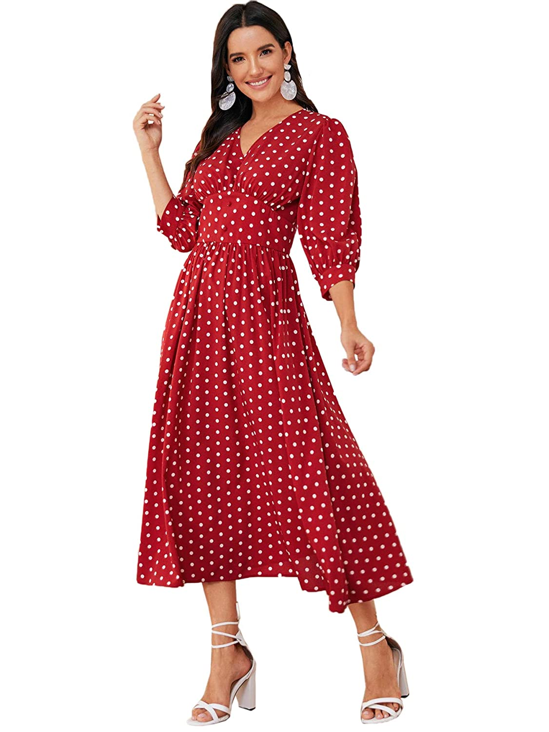 Cottagecore Dresses Aesthetic, Granny, Vintage Verdusa Womens Polka Dot Buttoned Bishop 3/4 Sleeve Fit & Flare Maxi Dress $37.99 AT vintagedancer.com